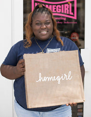 Large Homegirl Reusable Shopping Tote In White Font Being Held | The Little Market