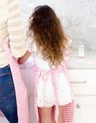 Fair trade, hand-woven pink & white striped kids apron