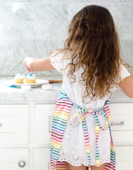 Fair trade, hand-woven rainbow striped kids apron