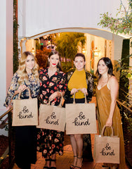 Lauren Conrad And Hannah Skvarla Posing With Be Kind Purposefull Tote In Black Font | The Little Market