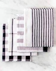 Fair Trade, Artisan Made Cotton Plaid Black and White Kitchen Towel