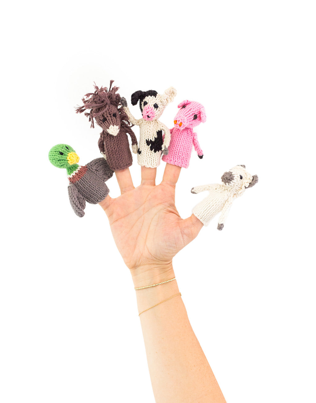 Knitted Finger Puppet Set - Farm Animals