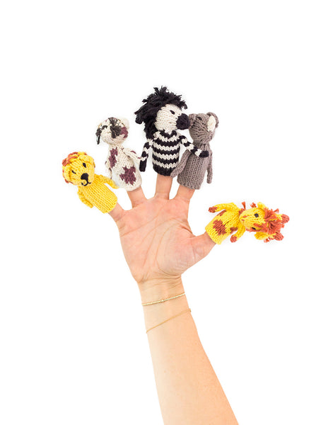 Knitted Finger Puppet Set - Safari Animals