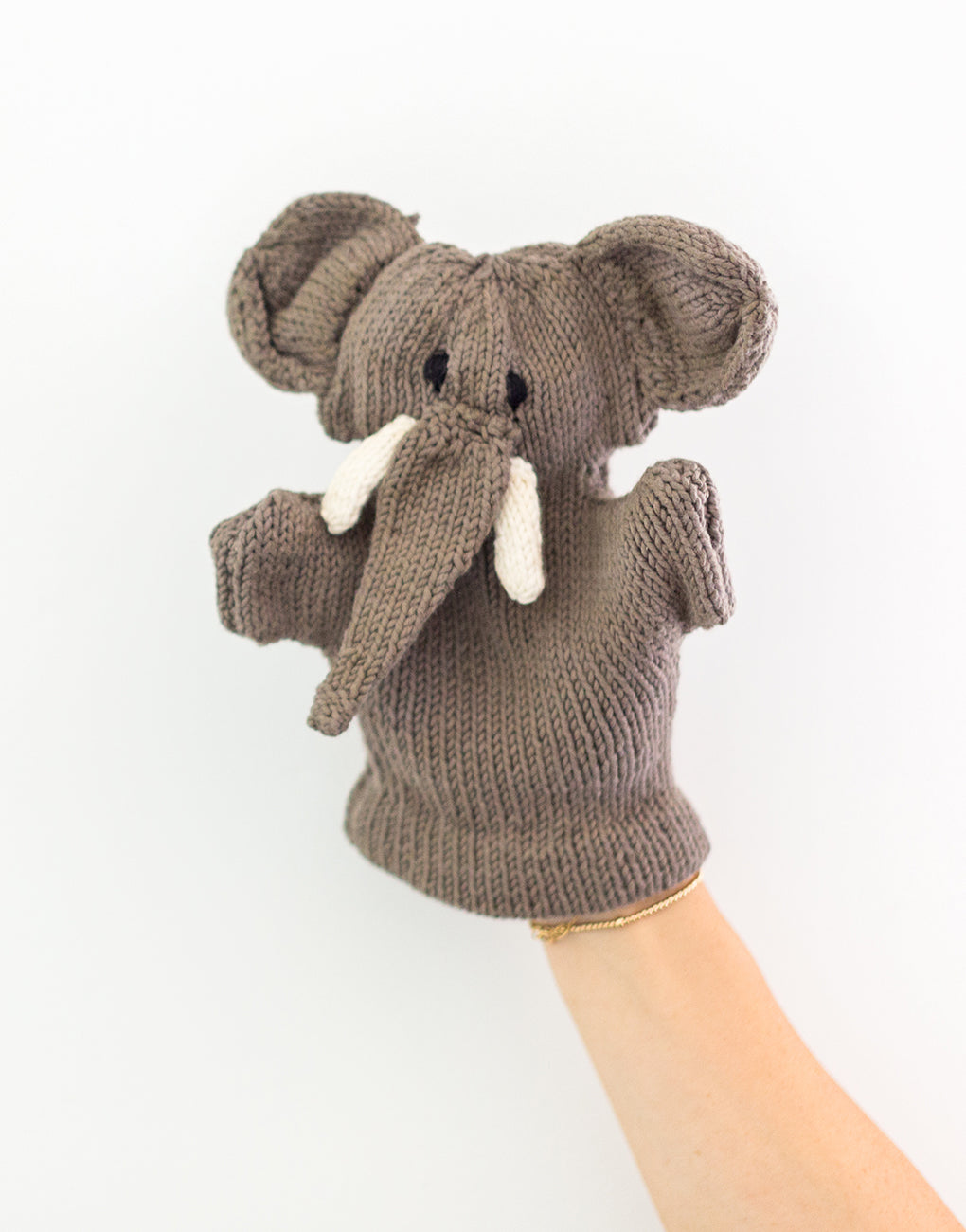 Knitted Hand Puppet - Elephant