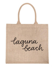 Large Laguna Beach Reusable Shopping Tote In Black Font | The Little Market