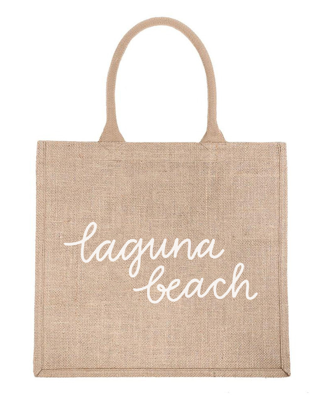 Large Laguna Beach Reusable Shopping Tote In White Font | The Little Market