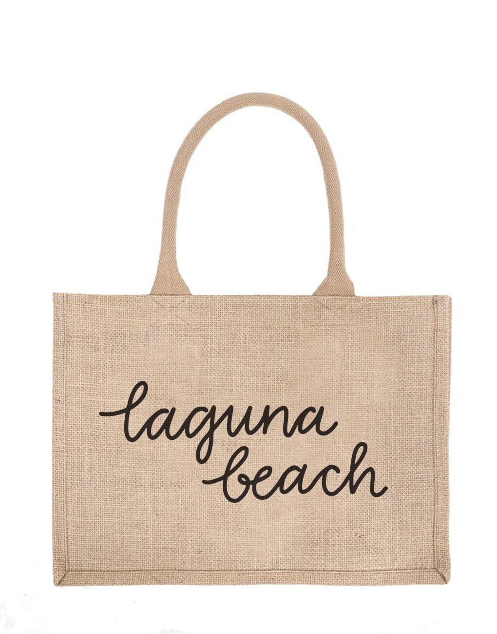 Small Laguna Beach Reusable Shopping Tote In Black Font | The Little Market