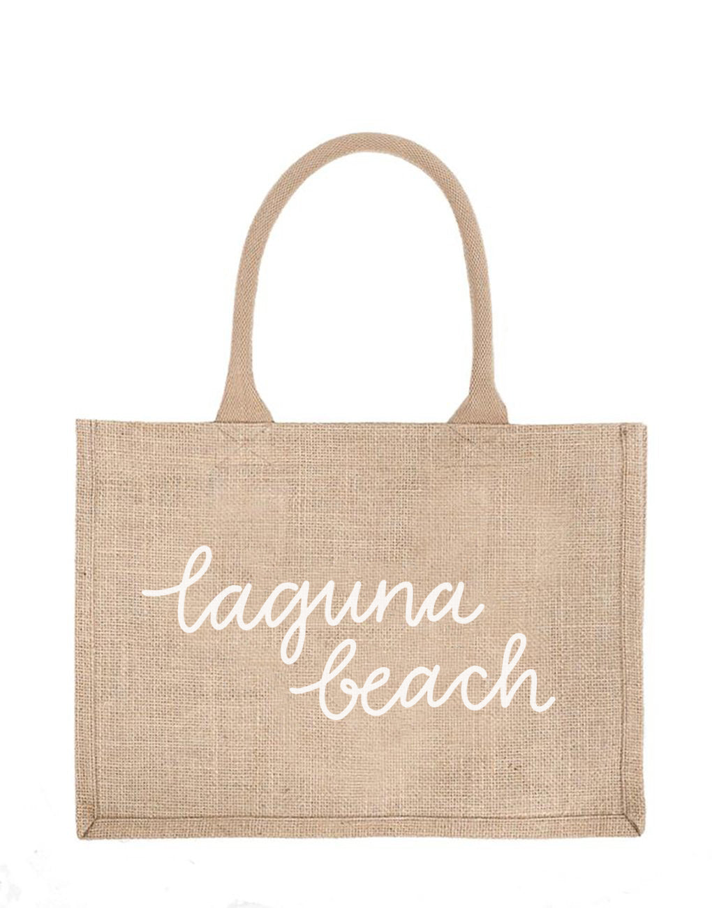 Small Laguna Beach Reusable Shopping Tote In White Font | The Little Market