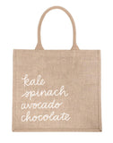 Large Grocery List Reusable Shopping Tote In White Font | The Little Market