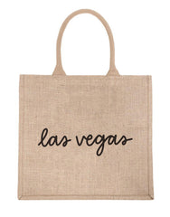 Large Las Vegas Reusable Shopping Tote In Black Font | The Little Market