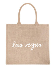 Large Las Vegas Reusable Shopping Tote In White Font | The Little Market