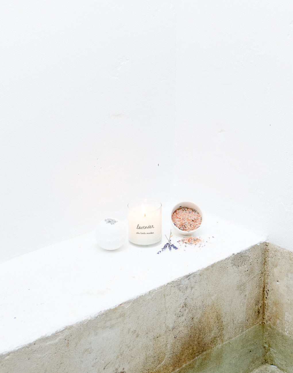 Lavender Scented Bath Bomb, Candle, And Soaking Salt In Small Bowl | The Little Market