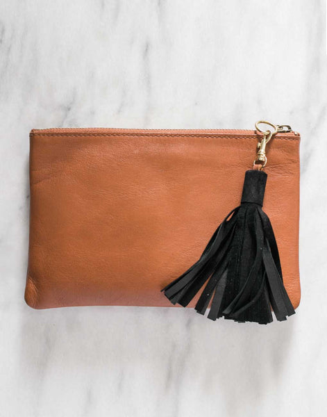Fair Trade, Handmade Black Leather Keychain Tassel