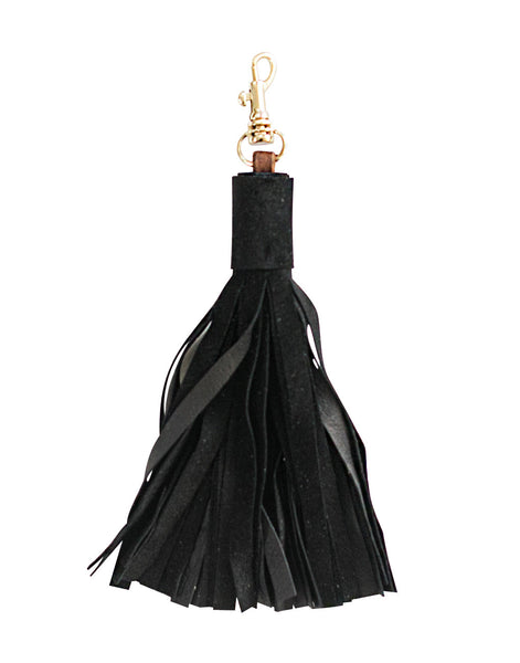 Leather Tassel Keychain - Black