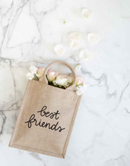 Medium Best Friends Reusable Gift Tote In Black Font With Flowers Inside | The Little Market