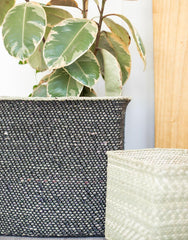 Square Iringa Basket In Black Close Up | The Little Market