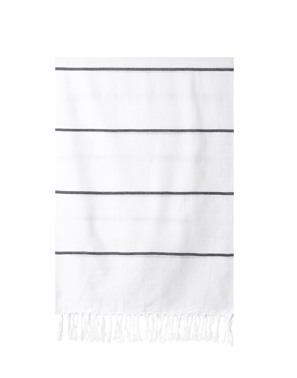 Lightweight Fringe Towel In Style No. 2 In Black | The Little Market