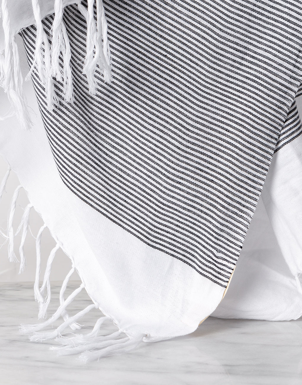 Lightweight Fringe Towel In Style No. 1 In Black Close Up | The Little Market