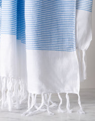 Fringe Hand Towel In Dusty Blue Close Up | The Little Market