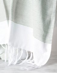 Lightweight Fringe Towel In Style No. 1 In Moss Close Up | The Little Market