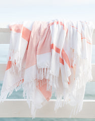 Lightweight Fringe Towel - Orange
