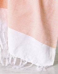 Lightweight Fringe Towel In Style No. 1 In Orange Close Up | The Little Market