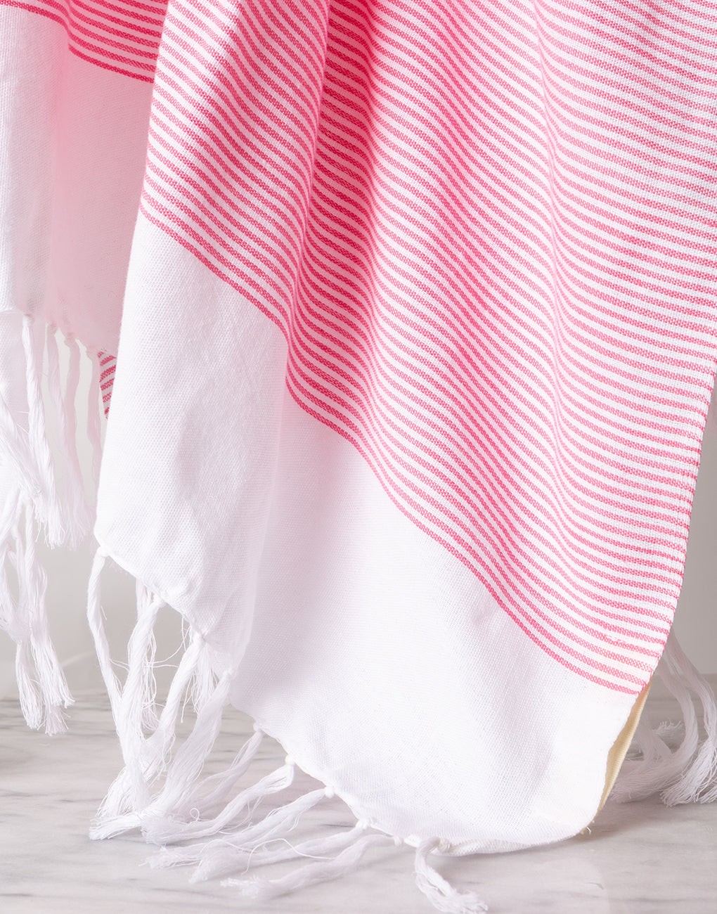 Lightweight Fringe Towel In Style No. 1 In Pink Close Up | The Little Market