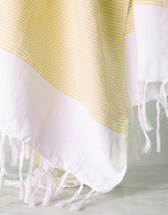 Lightweight Fringe Towel In Style No. 1 In Yellow Close Up | The Little Market