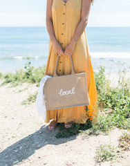 Small Local Reusable Shopping Tote In White Font | The Little Market