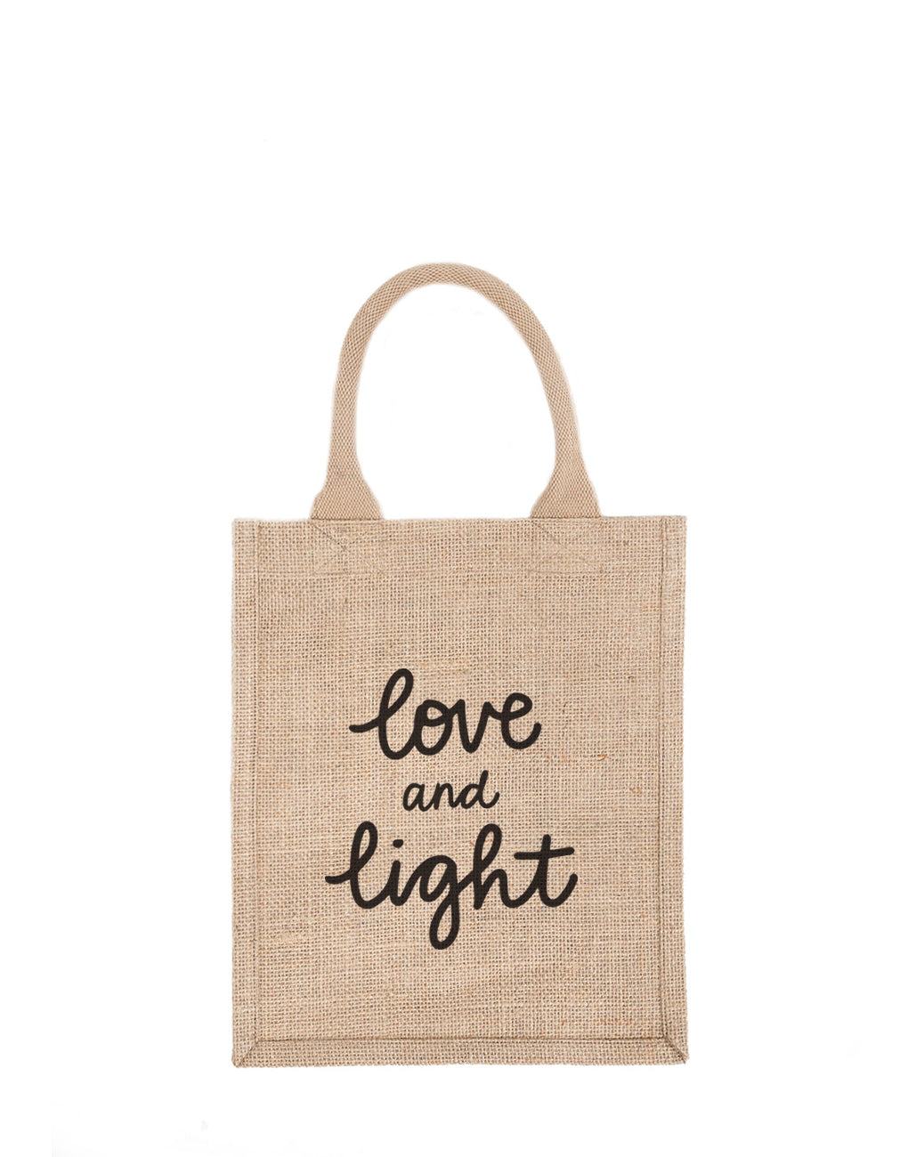 Medium Love And Light Reusable Gift Tote In Black Font | The Little Market