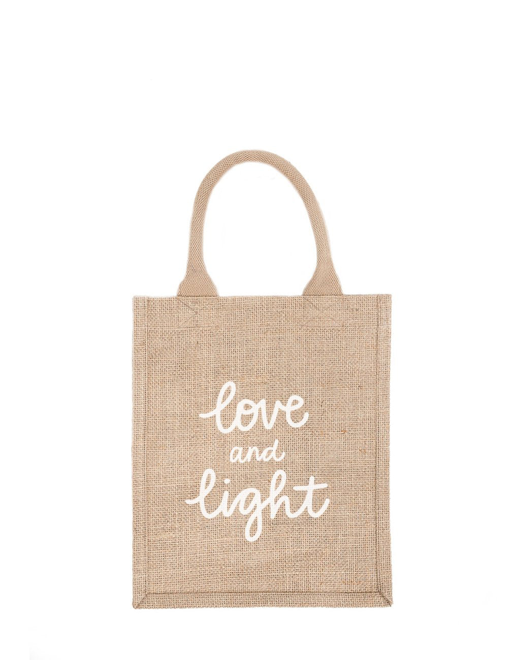 Medium Love And Light Reusable Gift Tote In White Font | The Little Market