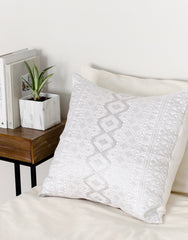 Fair Trade Woven Chiapas Pillow Silver & White