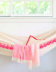Fair Trade, Hand-woven Pink & Cream Hammock