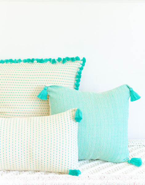 Fair Trade, Hand-woven, Neon Turquoise Tassel Pillow