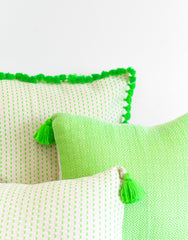Fair Trade, Hand-woven, Neon Green Tassel Pillow