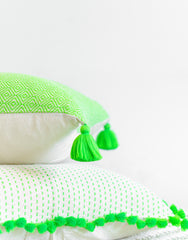 Fair Trade, Hand-woven Neon Green Tassel Pillow