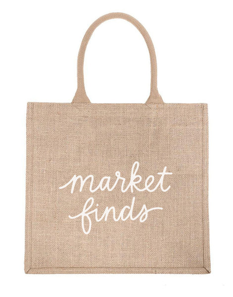 Large Market Finds Reusable Shopping Tote In White Font | The Little Market