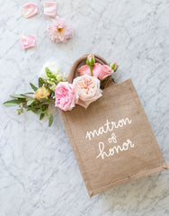 Medium Matron Of Honor Reusable Gift Tote In White Font | The Little Market