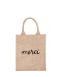 Medium Merci Reusable Gift Tote In Black Font | The Little Market