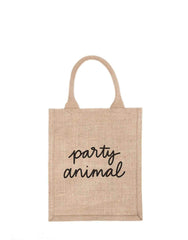 Medium Party Animal Reusable Gift Tote In Black Font | The Little Market