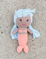 Fair Trade, Artisan Made Blue & Peach Mermaid Doll