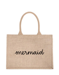 Small Mermaid Reusable Shopping Tote In Black Font | The Little Market