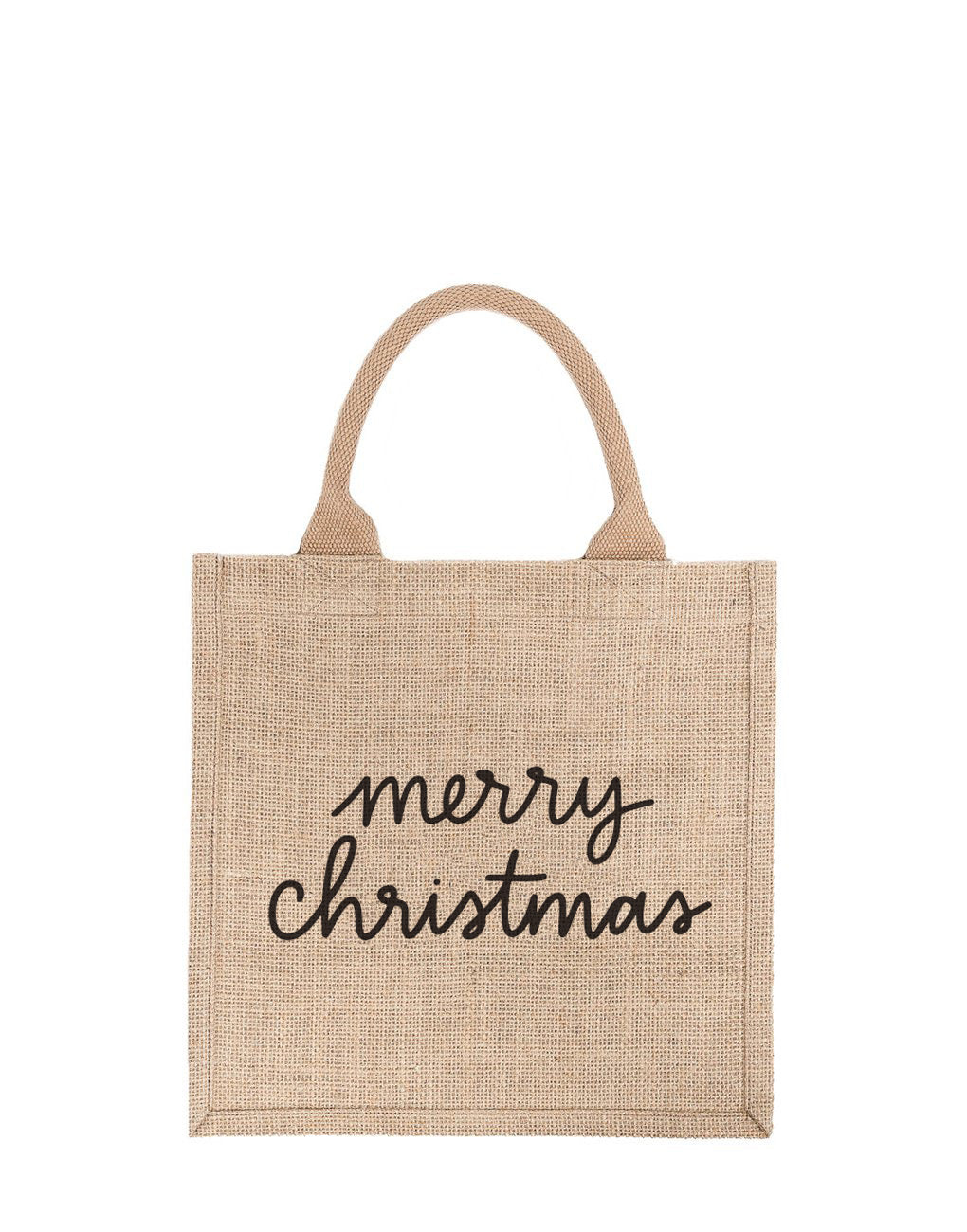 Large Merry Christmas Reusable Gift Tote In Black Font | The Little Market
