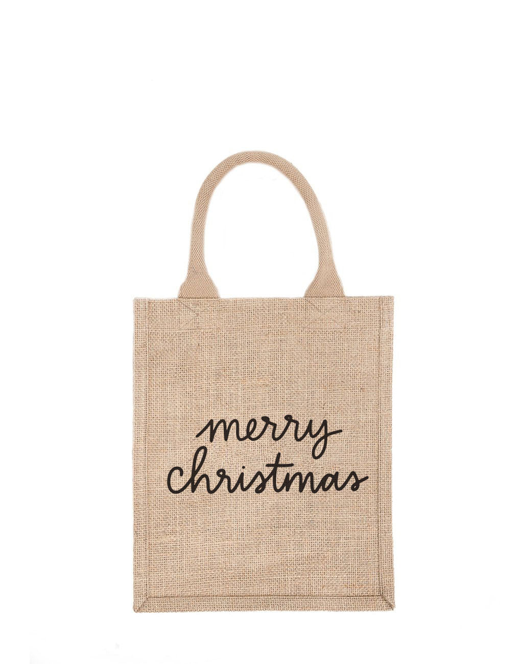 Medium Merry Christmas Reusable Gift Tote In Black Font | The Little Market