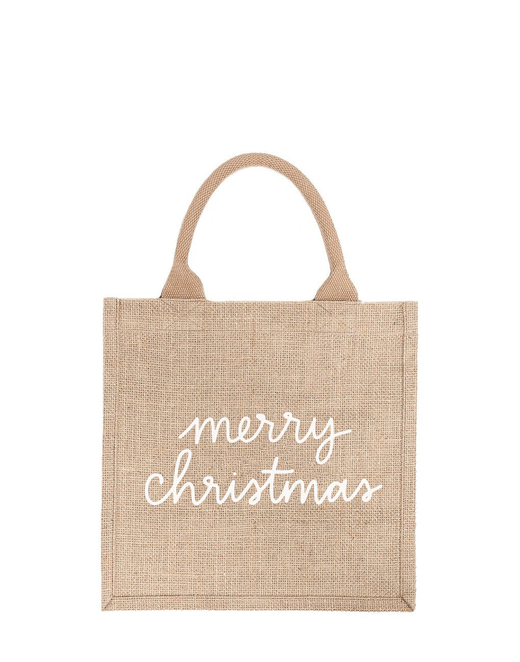 Large Merry Christmas Reusable Gift Tote In White Font | The Little Market