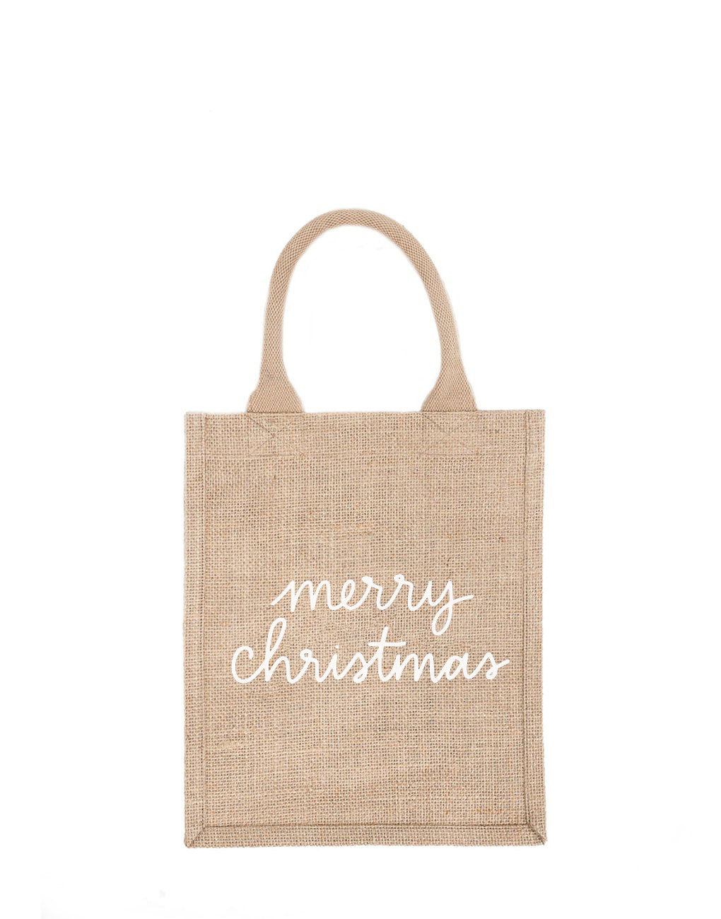 Medium Merry Christmas Reusable Gift Tote In White Font | The Little Market