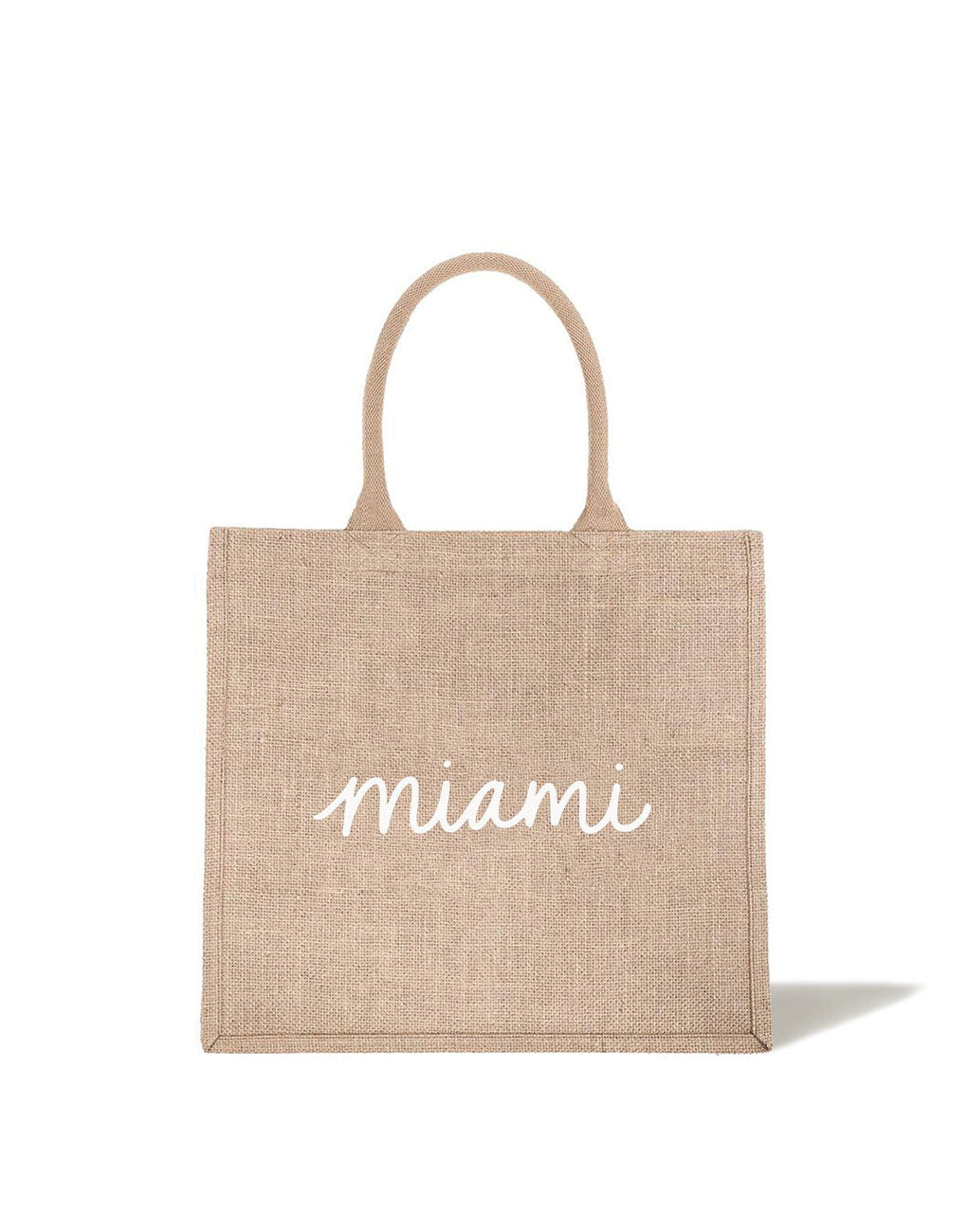 Large Miami Reusable Shopping Tote In White Font | The Little Market