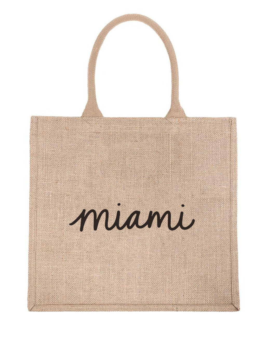 Large Miami Reusable Shopping Tote In Black Font | The Little Market