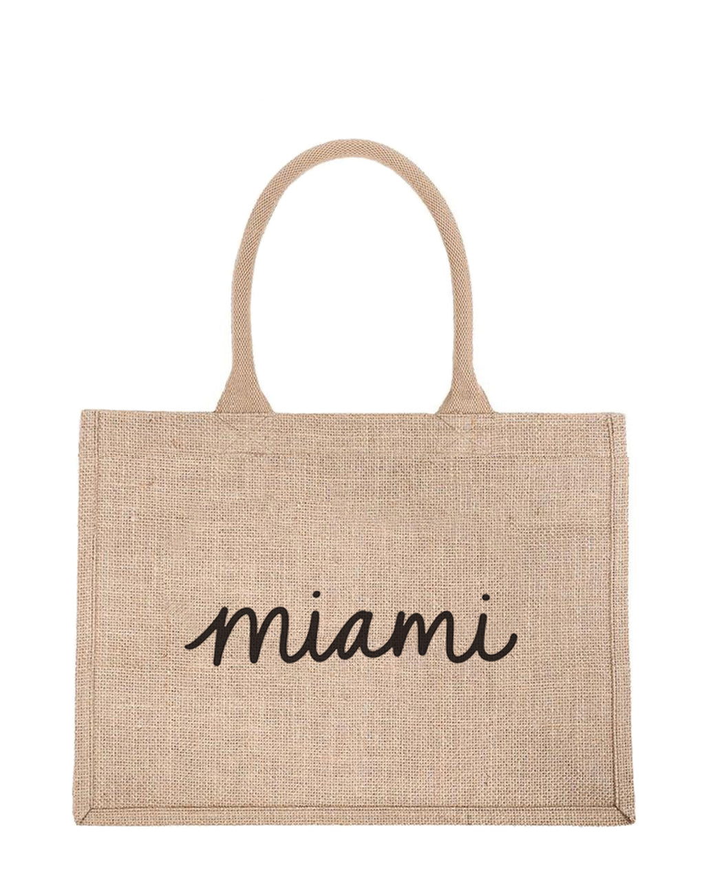 Small Miami Reusable Shopping Tote In Black Font | The Little Market