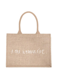 Small A One Woman Riot Purposefull Shopping Tote In White Font | The Little Market